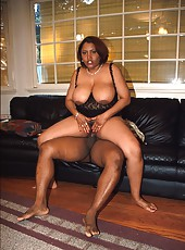 Big chested thick black bitch getting nailed hard