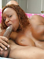 A chubby ebony hottie gets her pussy plowed with cock
