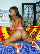 Ebony MILF with natural titties getting nailed from behind