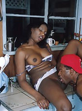 Black hottie gets humped hard in the kitchen