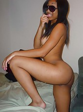Photo selection of an amateur wild horny naked black babe