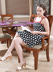 Jackie Paige loves her polka dot dress, but not as much as she loves to take it off and touch her hairy body all over, from her perky tits to her hairy legs and every hairy inch in between.