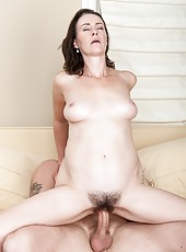 Veronica Snow is a sexy brunette with a hairy pussy she loves to have filled with hard cock. She is making a hardcore hirsute porn with a handsome stud that loves to slide his hard cock in her pussy.