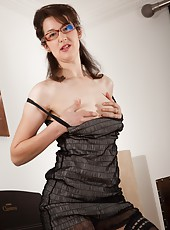 Tiffanny is one sexy girl, but the cute little office outfit is just part of her appeal. When she starts taking her outfit off, she is going to demonstrate positions to view her hairy pussy in.