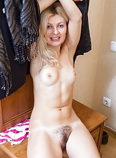 Rather than stay out with friends, Fedora rushes home because her hairy pussy is wet. She loves to slowly strip and play with her pretty pussy. This turns her on and who can blame her.