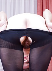Aivha is not just wearing denim and stockings; she is wearing stockings with the pussy cut out so that she can better access her hairy mound in this tantalizing hirsute porn.
