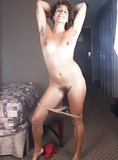 Even painting her toe nails is cause for fun for hairy girl Saige! She loves to let her hairy pits and pussy fly free, especially if she knows the camera is around to capture the hairy fun.