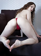 Gorgeous hairy girl Ginger looks even more delicious than ever in her red hot mesh teddy that hugs her creamy white body. This playful girl loves to tease before showing her hairy bod off.