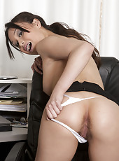 Sexy Sasha Yung is perfect for any job. This sweet Asian honey looks beautiful  and is a true natural gem. Just look at that perfect hairy pussy!