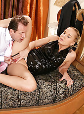 Sexy babe Monique fucked by waiter
