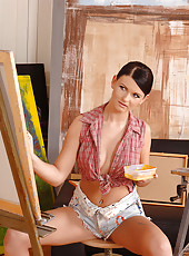 Sexy painter sucking a hard cock