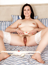 First time Anilos babe shows off her hairy milf pussy