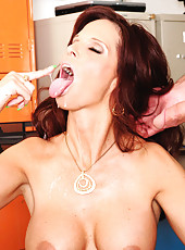 Syren De Mer has hot sex with one of her big cocked students and they fuck on her desk.