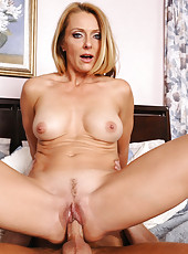 Gorgeous blonde Brenda James decides to have sex with younger cock and get fucked in her tight pussy.