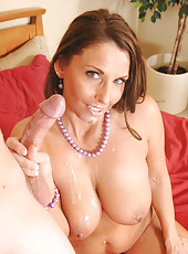 Busty brunette MILF Stacie Starr has hot sex with younger guy stealing her underwear and rides him on the bed