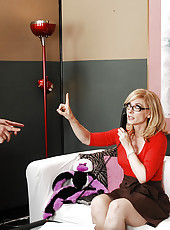 Busty MILF Nina Hartley has hot anal sex with younger thick cock.