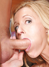 Gorgeous blonde MILF tricks guy into doing things for her then fucking her pussy.