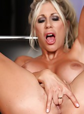 The sexy Puma Swede fingers her little pussy and shows her tight asshole.