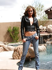 Sexy petite and oh so hot Prinzzess strips from her leather jacket and jeans.