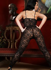 Brianna Jordan models her sexy black body stocking showing just how perfectly it hugs her body. It gets even better when she busts those curves out for all to see.