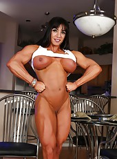 Ripped up bodybuilder Marina Lopez flexes her big muscles and strips at the same time.