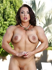 Bodybuilder Brandi Mae strips from her bikini and flexes her rock hard body.