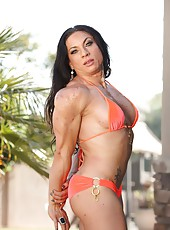 Ripped Vixen shows off her ripped up body as she strips out of her bikini.