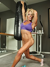 Fitness babe Gina gets in a sexy workout then strips off all her clothes.