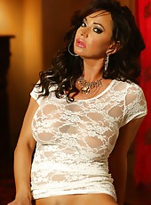 Busty and beautiful Rachel Aziani strips off her see through shirt and exposes her hot bod.