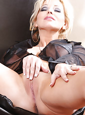 Rachel Aziani in sheer shirt and panties