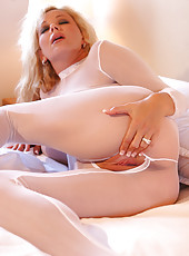 "A huge thank you to ""Jeff"" for the sexy white bodystocking. I just love it! Gotta love the crotchless look, easy access for my big cock like toy! M"