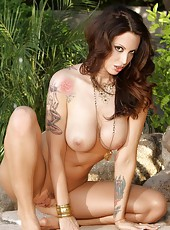 Gorgeous brunette babe, Nikki Nova, loves being naked outdoors!  Check out Nikki showing off her beautiful big boobs, hot body and amazing ass in the backyard!