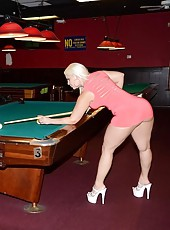 When bedeli reacts favorably to his playful advances the action gets hot quickly when she lays on the pool table and rubs the 8 ball on her pussy so tony takes this as an invitation and dives his head in to lick her pussy