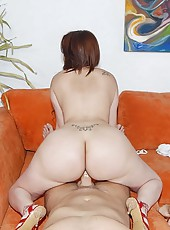 She was wearing white yoga pants that accentuated her colossal ass and a white top that her huge tits were   popping out of