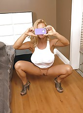 Hot blond milf wiht huge big tits and big ass jumps on cock and fucks it hard