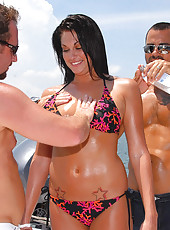 Watch hot ass amazing fucking bikini milf get fucked on a boat in this double team fucking 3some picset