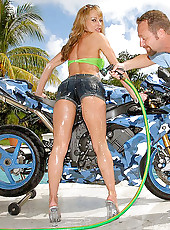 Hot big tits milf rides a hard cock outdoors after getting wet and horny in her bikini washing her motorcycle