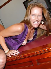 Long leg car saleswoman jenny gets nailed hard and mouth fucked upside down in her carlot office in these hot pics and big video