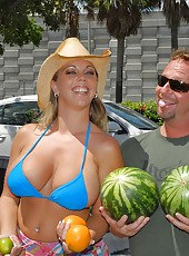 Check out this hot fruit selling bikini babe on the side of the street selling cherries and melons then gets her hot pussy pounded hard and titties creamed in these pics and big movie