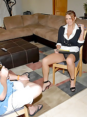 This horny reporter come in to do an interview but ends up with her skirt above her waist in these super hot cum fuck pics