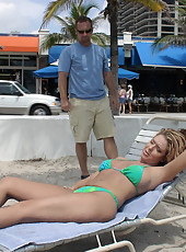 Hot milf laying at the beach is easy prey for the hunter