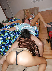 These hot horny milfs give a lucky guy a threesome