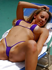Super fine blonde milf in purple gstring getting done by the pool