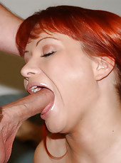 Hot little redheaded milf gets dogged by the hunter