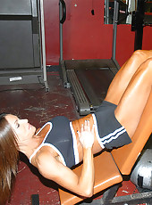 Awsome pics of this hot milf babe working out and working out on the cock