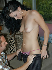 Tall brunette mom gets spanked while the hunter bangs her