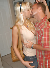 Hot blonde babe gives an incredible blowjob to climax
