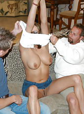 Brunette babe gets double dicked by the hunter and a friend
