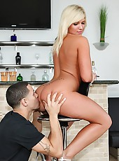 Smoking ass big tits blonde bent over and fucked over the bar stool hot ass cumshot party
