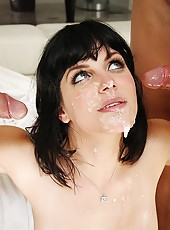 Hot ass big tits brunette cumfaced by 3 cocks after getting fucked in all her holes at the same time